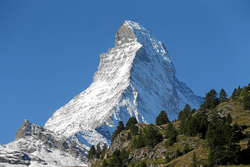 ZERMATT, 24SEP15 - A snow covered Matterhorn says good-bye to the STM participants. Impression of the 18th Switzerland Travel Mart (STM) in Zermatt, Switzerland, September 21 to 23, 2015. The STM is the most important trade show to increase sales of Switzerland travel products and services. swiss-image.ch/Photo Andy Mettler